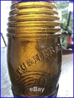 Rare Yellow Amber Turners New York Barrel Bitters Bottle