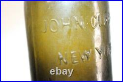 Rough Sand Pontil John Clarke New York Blackglass Olive Green Pint Water
