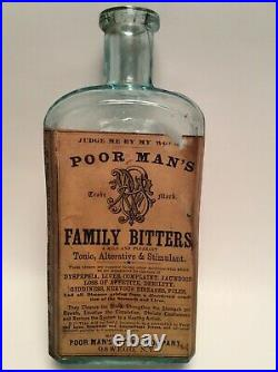 SCARCE EARLY LABEL 1870s Poor Mans Family Bitters Oswego, NY Medicine Cure Bottle