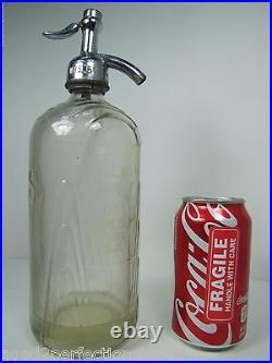 SSS SCHULTZ BROOKLYN NY Art Deco Embossed Seltzer Bottle Excelsior Newark NJ