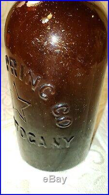 STAR SPRING 5 Pt STAR SARATOGA NY 1870s Mineral Water Bottle CRUDE GEM