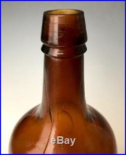 Saratoga-Type Mineral Water Bottle DJ Whelan, Troy NY, Rare Amber Quart, c. 1875