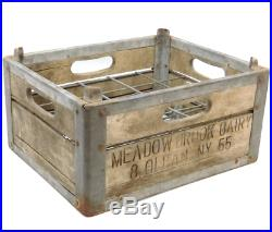Scarce Antique Erie Crate Co. Meadow Brook Dairy Milk Bottle Crate Olean, NY