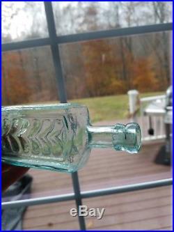 Scarce B. Denton / Floral Plume / Auburn NY Open Pontil Medicine Bottle