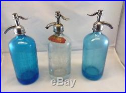 Seltzer Bottle Lot (3) Blue, Clear, and Blue NY area vintage glass Bottles