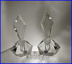 Set 2art Deco Hand Cuteuropean Lead Crystal Perfume Bottle Vanity Pair Acc 1960