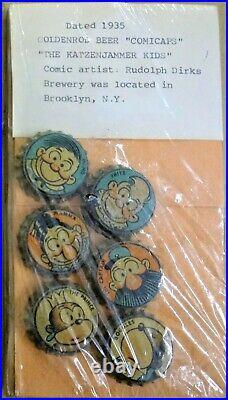 Set serie GOLDENROD KATZENJAMMER 6 UNUSED beer bottle caps CORK Brooklyn NY 1935