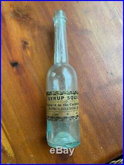 Shaker United Society Bottle New Lebanon, NY syrup squill paper label