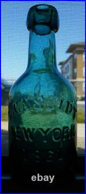 Sparkling Attic Mint Teal Green G. Cassidy New York Dated 1861 Squat Soda Bottle