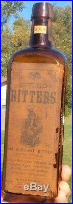 Spring Bitters W. D. Shedd Jamestown, Ny Unlisted Labeled Bottle Gardner Collection
