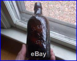 Star Spring Co Saratoga Ny Emb Star Amber Pint Crude Whittled Mineral Water