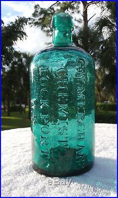 Stunning! 1800's G. W. Merchant Chemist Lockport N. Y. Antique Medicine Bottle