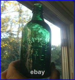 TEAL GREEN EMPIRE WATER WITH LARGE LETTER E 1870s PINT SARATOGA, NY MINERAL WATER