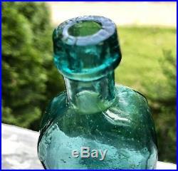 Teal Blue G. W. Merchant Lockport N. Y. Handtooled Medicine PRISTENE CONDITION