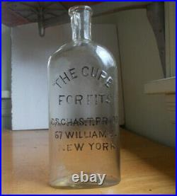 The Cure For Fits Dr. Chas. T. Price New York Rare 1880 Medicine Bottle 8 1/4tall