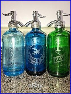 Three Beautiful Antique Vintage Seltzer Bottles From N. Y Montclair Nj Brooklyn N