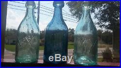 Three Iron Pontil Lancaster N. Y. Glass Works Sodas Two Aqua, One Cobalt Blue