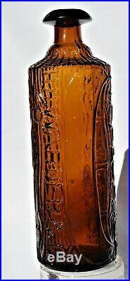 Tippecanoe H. H. Warner Pat. Nov. 20 83 Rochester Ny 4 Amber Log Bottle
