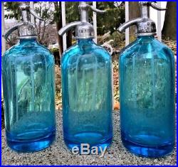 Trio Of Medium Blue Antique Seltzer Bottles From Brooklyn Ny And New York
