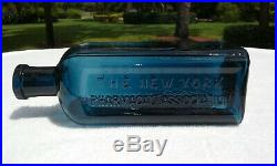 Tumbled Rare! 1880's Antique Prussian Blue New York Pharmacal Assoc Bottle