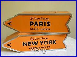 Two Veuve Clicquot Arrow Tins PARIS & NEW YORK Reims Champagne Street Sign