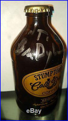 UNIQUE Bob Dylan signed Cold Brew Coffee Bottle with LOA signed in NY Dec 2016