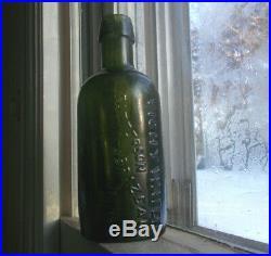 VICHY WATER PATTERSON & BRAZEAU NY 1/2 PINT GREEN BOTTLE DRIPPY LIP 1870s NICE