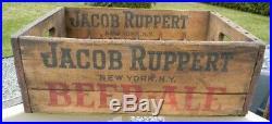 VINTAGE 1937 JACOB RUPPERT BEER 12oz STINIE BOTTLE CRATE WOOD BOX SIGN NEW YORK