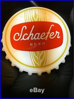 VINTAGE SCHAEFER BEER Bottle Cap SIGN LIGHTED MAN CAVE BAR GAS OIL Works Rare Ny