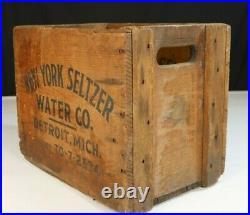 VTG Antique New York Seltzer Bottle Crate Wooden Storage Box Detroit, Mich