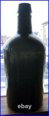 Very Early Whittled Dark Green CW Weston Saratoga NY Mineral Spring Water Bottle
