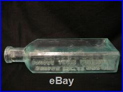 Very Rare Antique Vintage Savage Arms Red Gun Oil Aqua Tinted Bottle Utica Ny