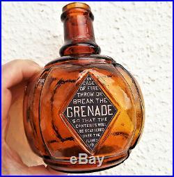 Victorian Amber New York Glass Hayward Advertising Fire Grenade Bottle Antique