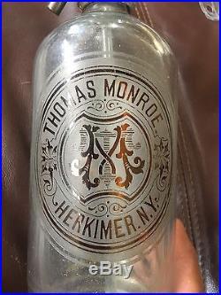 Vintage 12 High Thomas Monroe Herkimer Ny Seltzer Bottle 1893