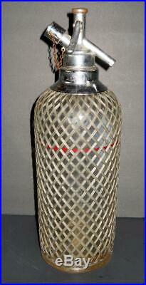 Vintage 1930s Seltzer Bottle Siphon Sparklets N. Y. Czech Wire Mesh Barware
