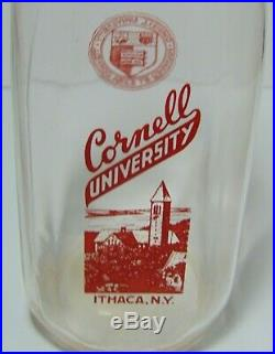 Vintage 1956 CORNELL UNIVERSITY ITHACA NEW YORK QUART MILK BOTTLE RED PYROGLAZE