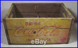 Vintage 1960's Coca-Cola Wooden Crate Bottles 4 Sections New York Yellow Box USA