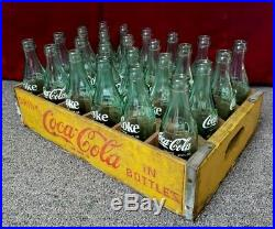 Vintage 1968 Coca Cola 24 Ct Carrier Crate And Bottles Fl Ny Ks Ok De Nc Wy Oh