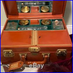 Vintage 40s Maximillian NY Leather-Hyde Train Case WOW with Original Bottles