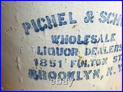 Vintage 5 Gallon PICHEL & SCHWAB LIQUOR Whiskey Jug Bottle BROOKLYN NY Fulton St
