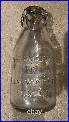 Vintage Alex Campbell Milk Bottle A. C. M. Co Quart rare New York Snap cap Lid
