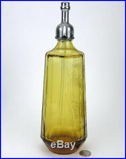 Vintage Amber Czech Seltzer Bottle Female Graphic Selkowitz Beverage Brooklyn NY