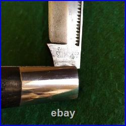Vintage Antique Camillus New York Ebony Coke Bottle Hunter Pocket Knife Etched