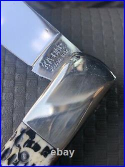 Vintage Antique KA-BAR Olean NY with Awesome Appaloosa Bone Coke Bottle Knife