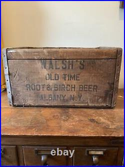 Vintage Antique Walshs ROOT & BIRCH BEER SODA Bottle Wood Box Crate ALBANY, NY