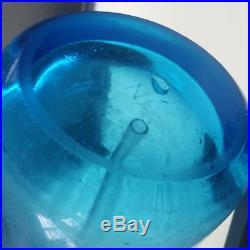 Vintage BLUE GLASS SELTZER BOTTLE BORAK Bronx NY JAMAICA CAP & GLASS SYPHON