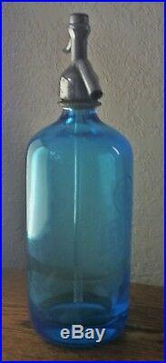 Vintage BLUE GLASS SELTZER BOTTLE BORAK with Bronx NY Etching & GLASS SYPHON