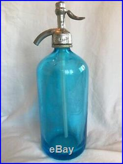 Vintage Blue Etched Glass Seltzer Bottle Glaser Siphon Manhattan New York Bar