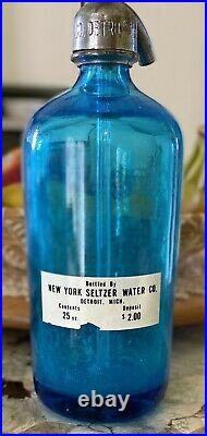 Vintage Blue Glass Seltzer Bottle New York Water Co. Detroit Made Czechoslovakia