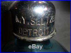 Vintage Blue Glass Seltzer Bottles New York Seltzer Water Co. Detroit Mich